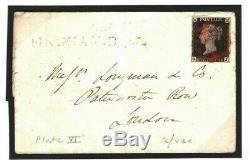 GB Penny Black 1840 Cover RARE Late Use BINGHAM. Dec Notts 1d Plate 6 (OJ) MC59