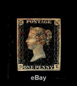 GB QV 1840 SG2 1d Penny Black Pl 11 Eleven DE Red MX Fine Used Very Rare