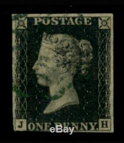 GB QV 1d Penny Black Plate 2 JH With St Columb Deep Green MX Very Rare Ex Spink