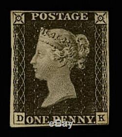 GB QV 1d Penny Black Plate 5 DK 4 margins Mint CV £12000 Rare ex Spink