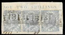 GB QV SG120b 2s Milky Blue FB-FD Fine Used Strip of 3 on Piece Very Rare High CV