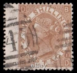 GB QV SG121 2 Shillings Brown BD With Newcastle 545 Cancel Fine Used Rare