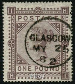 GB QV SG129 £1 Brown Lilac PL 1 HI Superb Used Upright Glasgow CDS Rare