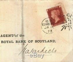 GB RARE BRUNSWICK STAR Cover SCOTLAND Edinburgh 1873 Penny Red ex Dawson492a