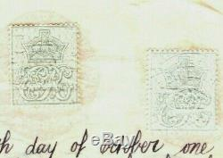 GB REVENUES Perforated KEVII Cypher Stamps 1908 Document RARE samwellsMAL77