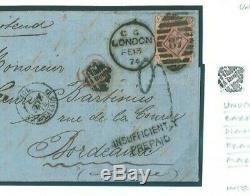 GB UNDERPAID DESTINATION MAIL 3d Cover 1874 RARE Inspectors Mark samwellsU22b