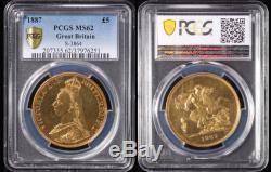 GREAT BRITAIN £5 1887 QV Jubilee head. Gold. S-3864. Slabbed PCGS MS62. RARE