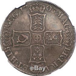 Great Britain 1703-VIGO Anne Silver Crown NGC XF-45 RARE
