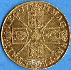 Great Britain 1713 Guinea Gold Coin Queen Anne RARE Overdate 3/1 EF Detail