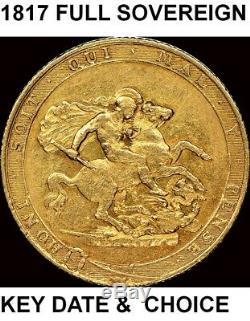 Great Britain 1817 Full Sovereign-rare-first Date St George- Nice Coin- See Pics