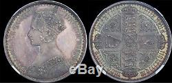 Great Britain 1847 Gothic Crown Plain Edge Pure Silver Type, NGC PF62 Rare
