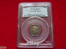 Great Britain. 1853 Proof Sixpence. RARE Mintage of ONLY 40 Pces. PCGS PR64