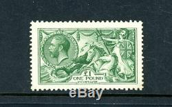 Great Britain 1913 £1 Green Seahorse (SG 403), Rare Stamp, L. H. M. (D4127)