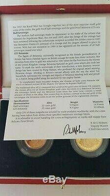 Great Britain 1997 ULTRA Rare PROOF Gold £25 Britannia, Half Sovereign. COA