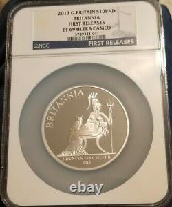 Great Britain 2013 £10 Proof 5 Oz Silver Britannia Coin NGC PF 69 UC FR RARE