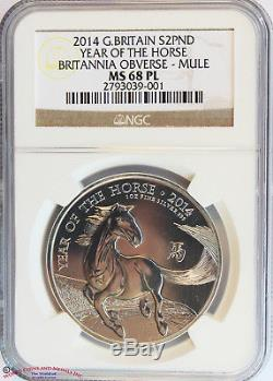 Great Britain 2014 Silver 2 Pounds. Year Of The Horse Mule. Ngc-ms68pl. Rare