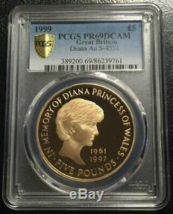 Great Britain £5 Gold 1999 PCGS PR69DCAM Diana Rare in 69 grade