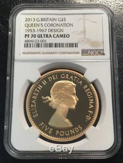 Great Britain 5 Pounds 2013 NGC PF70UC Queen's Coronation Mintage 148 only Rare