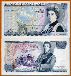 Great Britain, 5 pounds (1971-1972) P-378a, QEII, UNC England Rare Type