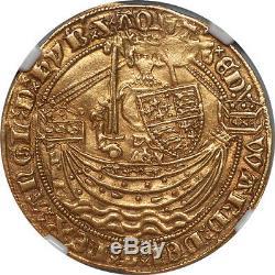 Great Britain Edward III (1361-69) Gold Half Noble NGC AU-55 RARE GRADE