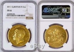 Great Britain Ngc Pf61 1911 George V 5 Pounds-rare-pr61 Sold $6600 2/26 Stack's