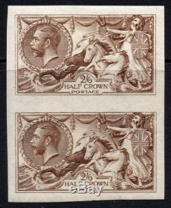 Great Britain Rare Imperf Pair of 2/6 Stamps c1915 Mounted Mint De La Rue (646)