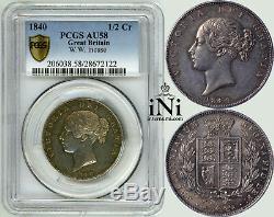 INi Great Britain, Victoria, Halfcrown 1840, young head, Rare! , PCGS AU 58