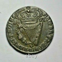 Ireland William and Mary, copper halfpenny 1693, high grade, very rare thus