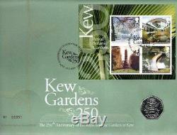 KEW GARDENS M/S FDC 19-5-09 KEW SHS + BRILLIANT UNC RARE GB KEW 50p COIN F16