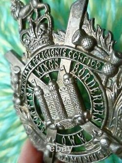 Kings Own Scottish Borderers Officer's Cap Badge QC FULLY FRETTED Org RARE