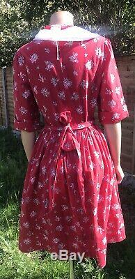 LAURA ASHLEY Rare VINTAGE Red & White COTTON Floral Sailor Tea DRESS MADE IN GB