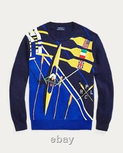 NWT RARE POLO RALPH LAUREN Mens 2020 Sz L Rowing Print Flag Embroidered Sweater