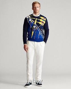 NWT RARE POLO RALPH LAUREN Mens 2020 XL Rowing Print Flag Embroidered Sweater