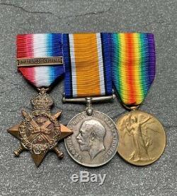 Original named WW1 British 1914 MONS STAR & Clasp Medal Trio complete rare set