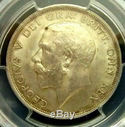 PCGS MS64 Gold Shield-Great Britain 1914 George V Silver 1/2 Crown ChoiceBU RARE