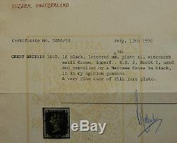 Penny Black black Pl 11 rare plate veri fine stamp Cat £ 5750.00 ++