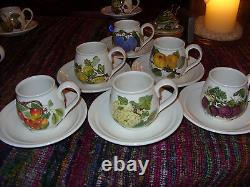 Portmeirion Pomona Set Of 6 Immensely Rare Motifs Demitasse Cups Buy It Now