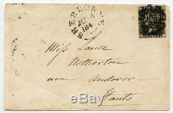 RARE 1840 1d black plate 11 NL cover to Andover tied black Sherborne Maltese X