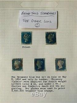 RARE 1840 2d Blue Strip of THREE with 4 Margins and clear black Mx's