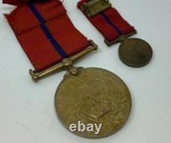 RARE 1902 KING Edward VII Coronation (Police) Medal + Miniature Medal Named