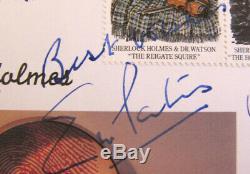 RARE FDC Sherlock Holmes 5 x Hand Signed Jeremy Brett Charles Gray Eric Porter