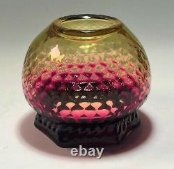 RARE Thomas Webb & Sons Alexandrite Hexagon Vase with Honeycomb Pattern