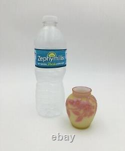 RARE Thomas Webb Three Color English CAMEO 2.5 Miniature Art Glass Vase