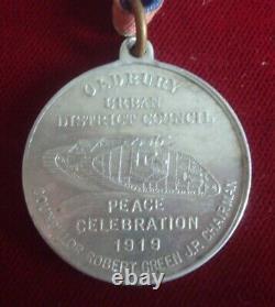 RARE WW1 OLDBURY 1919 PEACE MEDAL with WW1 TANK & ORIGINAL RIBBON