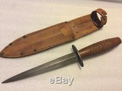 RARE WWII ERA SYKES with WOOD HANDLE DAGGER (KNIFE) UNMARKED PRIVATE