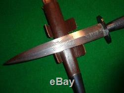 RARE c. 1940's Wilkinson 2nd Pattern Fairbairn-Sykes Commando Knife Scroll Etch