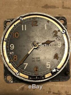 Rare 1 Day Spitfire Cockpit Clock Mk11A, 64/1002, 6369/42, Battle of Britain WW2