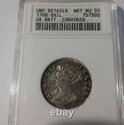 Rare 1708 Great Britain Queen Anne Silver Shilling-ANACS UNC details