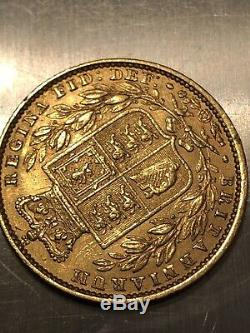 Rare 1854 Gold Great Britain Young Head Shield Full Sovereign Coin Ww Incuse