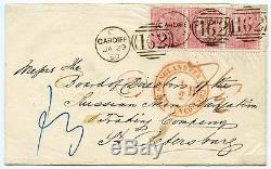 Rare 1859 cover Cardiff to St Petersburg, Russia, with strip 3 x 4d carmine